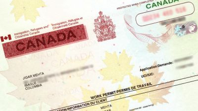 Partial photo of a Canadian work permit