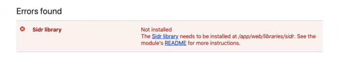 Sidr libraries message on the status report page