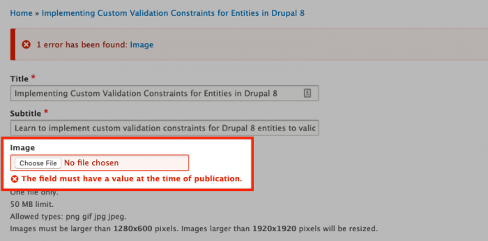 Create Custom Entity Constraints with Drupal's Entity