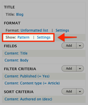 Screenshot of configuring views row display as UI patterns
